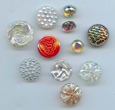 SOLD: Aurora glass vintage buttons $14.00