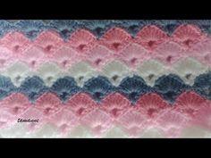 Cıvıl Cıvıl Bebek Battaniye Modeli - YouTube Crochet Box, Crochet Ripple, Crochet Shell Stitch, Crochet Motifs, Crochet Stitches Patterns, Free Crochet, Stitch Patterns, Diy Buttons, Crochet Videos