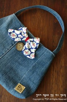 How to sew a small Handbag of denim old jeans. DIY Tutorial.