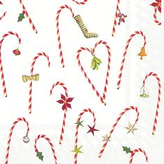 IHR Candy Cane Christmas Printed 3-Ply Paper Cocktail Beverage Napkins Wholesale C759500