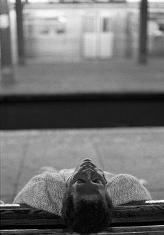 Ferdinando Scianna. NYC. Man sleeping in the subway 1991