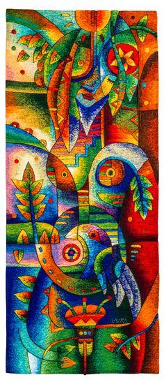 """""""Ternura a la ausencia"""". 179 x 79 cm. Detalle. Tapiz tejido a mano. Colección del Museo Máximo Laura. The Museo Máximo Laura's hand-woven Collection. #MuseoMaximoLaura #Museum #GalleryArt #TapestryArt #TapestryWeaving #weaveweird #weaverfever #weaving #HandwovenTextiles #Handwoven #Textures #Alpaca #TextileArt #TextileArtist #Cusco #Peru"""