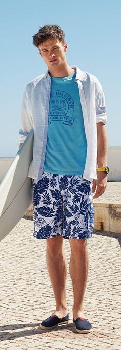 Tommy Hilfiger SS13 Aiden Shirt, Brody Swimshort, Aggro T-Shirt, Dax Swimshort, Vantage Sneaker #tommyhilfiger #SS13 #menswear #Summer2013