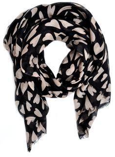 Heart Print Wool-Silk Scarf