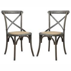 The angelo:HOME Cadwell armless dining chair set was designed by Angelo Surmelis. The Cadwell chairs feature a crisscross back design with an antique burnt oak distressed finish and a woven cane seat.