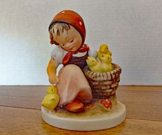 "Excited to share the latest addition to my #etsy shop: Rare Hummel ""Chick Girl""  #57 Porcelain Figurine From Early 1950's. Full Bee Mark. 4.625"" Tall. Very Fine Condition. Three Chicks in Basket."