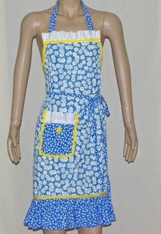 Blue daisy apron will ft most average size women.  $30.00 with FREE shipping and FREE personalization from AGiftToTreasure.com