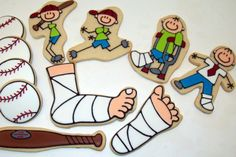 Doctors and Nurses Baseball / cast / little boy cookies for a friend with a broken ankle by Jillfcs