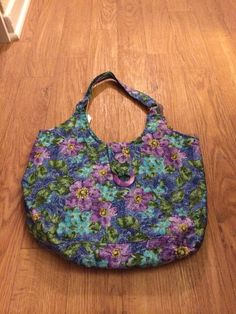 Purple & Green Flower Purse, Purple Flower Tote, Green Flower Tote, Flower Large Purse, Floral Purse, Large Tote, Fabric Tote - pinned by pin4etsy.com