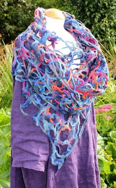 Lacey Felted wool shawl scarf wrap - blue purple red orange - quirky lagenlook £69.00