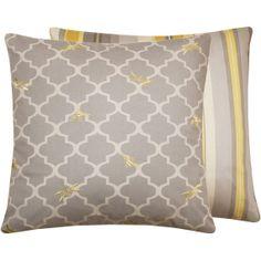 Yellow Grey Pillow Cover 18x18 Bees por ChloeandOliveDotCom en Etsy, $41.50