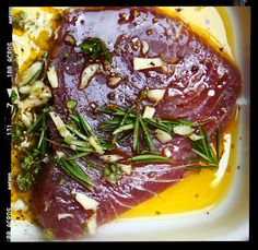 Tuna steak with peas, broad beans & spinach Tuna Steaks, Allrecipes, Spinach, Main Dishes, Beans, Food, Entrees, Meal, Main Courses