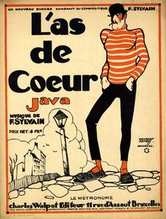 "Illustrated Sheet Music by Peter De Greef, 1924, ""L'as de coeur""."