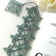 Lacy Handmade Bookmark, Delicate, Intricate Needle Tatting with Dangle