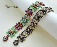 Beading tutorial instructions - beadweaving pattern beaded super duos or twin seed bead jewelry - beadwork JEWELED TILES beadwoven bracelet