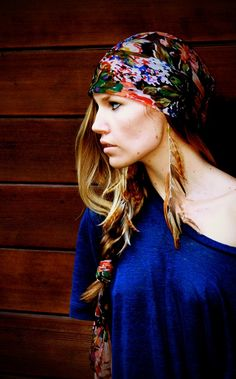 Bright scarf + long feather earings ( $40)