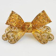 Vintage Designer Topazio from Portugal Signed Sterling Silver and Gold Filled Filligree Lace Bow Pin on Etsy, $295.00