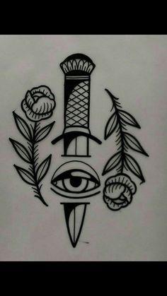 tattoo design available - traditional tattoo drawings Kritzelei Tattoo, Knife Tattoo, Tattoo Hals, Wrist Tattoos, Mini Tattoos, Black Tattoos, Body Art Tattoos, Small Tattoos, Sleeve Tattoos