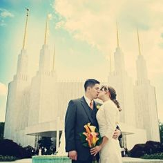 LDS Temple Wedding in Washington DC at the Maryland Temple. Orange, Lemon & Lime are the colors! By Emily Heizer