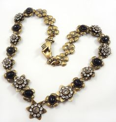 Lovely necklace, Mary Demarco Rhinstone and Black Stone Necklace with Victorian Hands Clasp