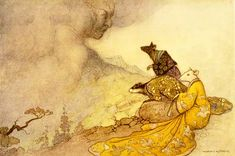 The Rat offering his daughter's hand to the Cloud, by Warwick Goble, from The Espousal of the Rat's Daughter by Grace James