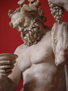 Dionysus, god of vineyards, son of Semele and the great god, Zeus. (Bacchus in Rome) - detail, Roman statue (marble), 1st–2nd century AD, (Musei Vaticani, Vatican City).