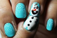 "Sky blue nail polish with Olaf, the snowman from the movie ""Frozen!"""