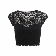 Miss Selfridge Scallop Lace Crop Top, Black and other apparel, accessories and trends. Browse and shop 21 related looks. Black Lace Crop Top, Lace Crop Tops, Lacy Tops, Black Lace Shirts, Scalloped Lace, Crop Top And Shorts, Crop Shirt, Mode Style, Gothic Fashion