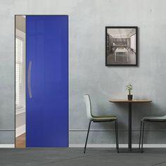 Eclisse 10mm Gloss Blue Colour Glass Syntesis Pocket Door - 5002.    #pocketglassdoor  #glassdoor  #framelessglassdoor Glass Pocket Doors, Glass Door, Architrave, Creative Design, Tall Cabinet Storage, Furniture, Home Decor, Decoration Home, Room Decor