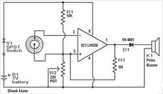 #ShockAlarm circuit, which used is in automobiles as an anti theft alarm. #ElectronicProjects #Elprocus #Electricalprojects
