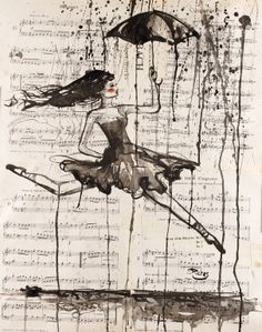 """Saatchi Online Artist: Sara Riches; Ink 2013 Drawing """"She Needs To Dance"""""""
