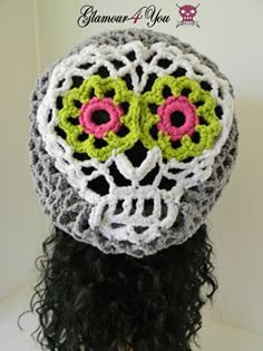 The Sugar Skull - Slouch Hat Pattern has instructions for All Sizes. Great to wear all year round! Make one for Halloween or for every day!