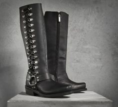 """Romy Performance Boots :: Full grain leather upper with a rubber outsole Full length cushion sock lining Goodyear® welt construction - the most durable method for bonding the sole to the boot YKK® locking inside zipper ensures that your boots stay zipped Shaft height: 14.5""""; Heel height: 1.75""""  :: 98706-14VW"""
