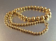 Vintage Gold Filled Bead Necklace 12K Chain by LynnHislopJewels