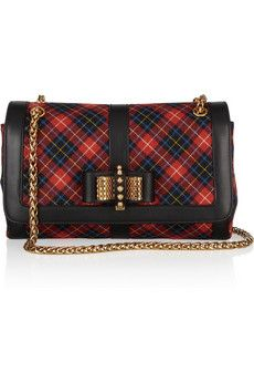 a78d884c07de Christian Louboutin - Sweet Charity small leather-trimmed plaid flannel  shoulder bag