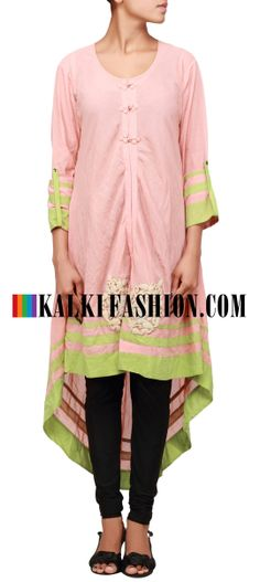 Buy Online from the link below. We ship worldwide (Free Shipping over US$100) http://www.kalkifashion.com/peach-kurti-embellished-in-pearl-and-thread-butti-only-on-kalki.html