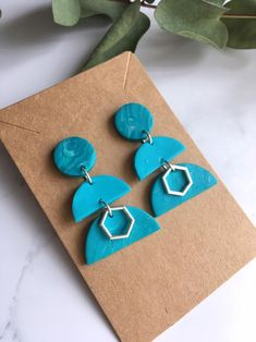 The Planlee Charity Fundraiser Dangle Earrings. Plan International UK, Blue, Teal and Turqoise Combi, Stainless Steel Stud Backs Polymer Clay Art, Handmade Polymer Clay, Polymer Clay Earrings, Etsy Jewelry, Handmade Jewelry, Unique Jewelry, Ethical Fashion Brands, Jewelry Party, Bridesmaid Jewelry