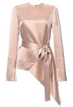 Crepe Satin Asymmetric Long Sleeve Blouse by Marni for Preorder on Moda Operandi Muslim Fashion, Hijab Fashion, Fashion Dresses, Crepe Satin, Satin Top, Pink Satin, Silk Top, Model Kebaya, Kebaya Dress