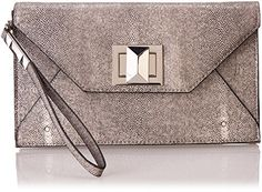 BCBG Faux Stingray with Icon Turnlock Clutch,Stone,One Size | Your #1 Source for Jewelry and Accessories