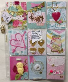 "Valentine's Day Inspiration For ATC Artist Trading Card Pocket Letters  ""Pink & Blue Hearts"" @pocketletterpals"