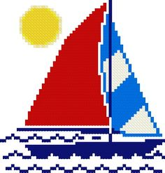 """FREE cross-stitch pattern - downloadable - Sailboat  59 x 62 stitches.  4.2"""" x 4.4"""" stitched on 14 count.  3.3"""" x 3.4"""" stitched on 18 count.  Number of colors: 8  Difficulty level: Easy"""