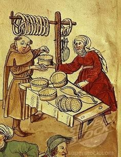 A medieval baker with her wares: pies, pasties, pretzels, and a krumkake made with a wafer iron