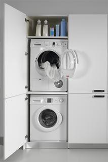 Dica serie 45 cocinas modernas con interiores bien for Mueble lavadora secadora