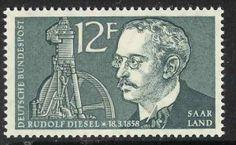 Zum 100. Geburtstag Rudolf Diesels, 1958, erschienen Sondermarken im Saarland, MiNr. 432 …
