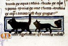 Black cats  Bestiary, England 13th century. Bodleian Library, MS. Bodl. 533, fol. 13r