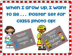 Free Sets of posters for when I grow up, I want to be for class photo opportunities, suggested book is not required for use Community Helpers Kindergarten, Kindergarten Social Studies, Kindergarten Learning, Library Posters, Owl Classroom, School Counselor, College Counseling, Leader In Me, Preschool Graduation