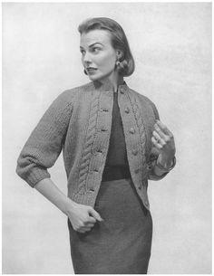 Twist Cardigan  1950s Knit Jacket Pattern  Vintage by TheStarShop