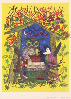 Vintage Soviet postcard 1968 Russian folk tale by SovietPostcards