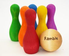 Rainbow Wooden Toy - Personalized Bowling Set - Waldorf Toddler Toy