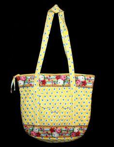 Large VERA BRADLEY ELIZABETH Yellow VILLAGER TOTE SHOULDER BAG EXCELLENT!
